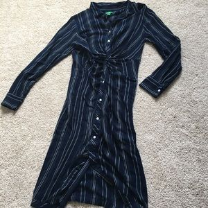 Navy and green striped dress